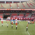 Canadian Flags with the FIFA Women's Soccer Team from Canada
